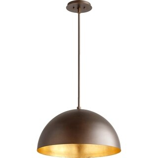 1-Light Dome Pendant Oiled Bronze/Gold Leaf by Quorum. Vintage Design Perfect for restation projects
