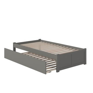 Concord Twin Platform Bed with Flat Panel Foot Board and Twin Size Urban Trundle Bed in Atlantic Grey