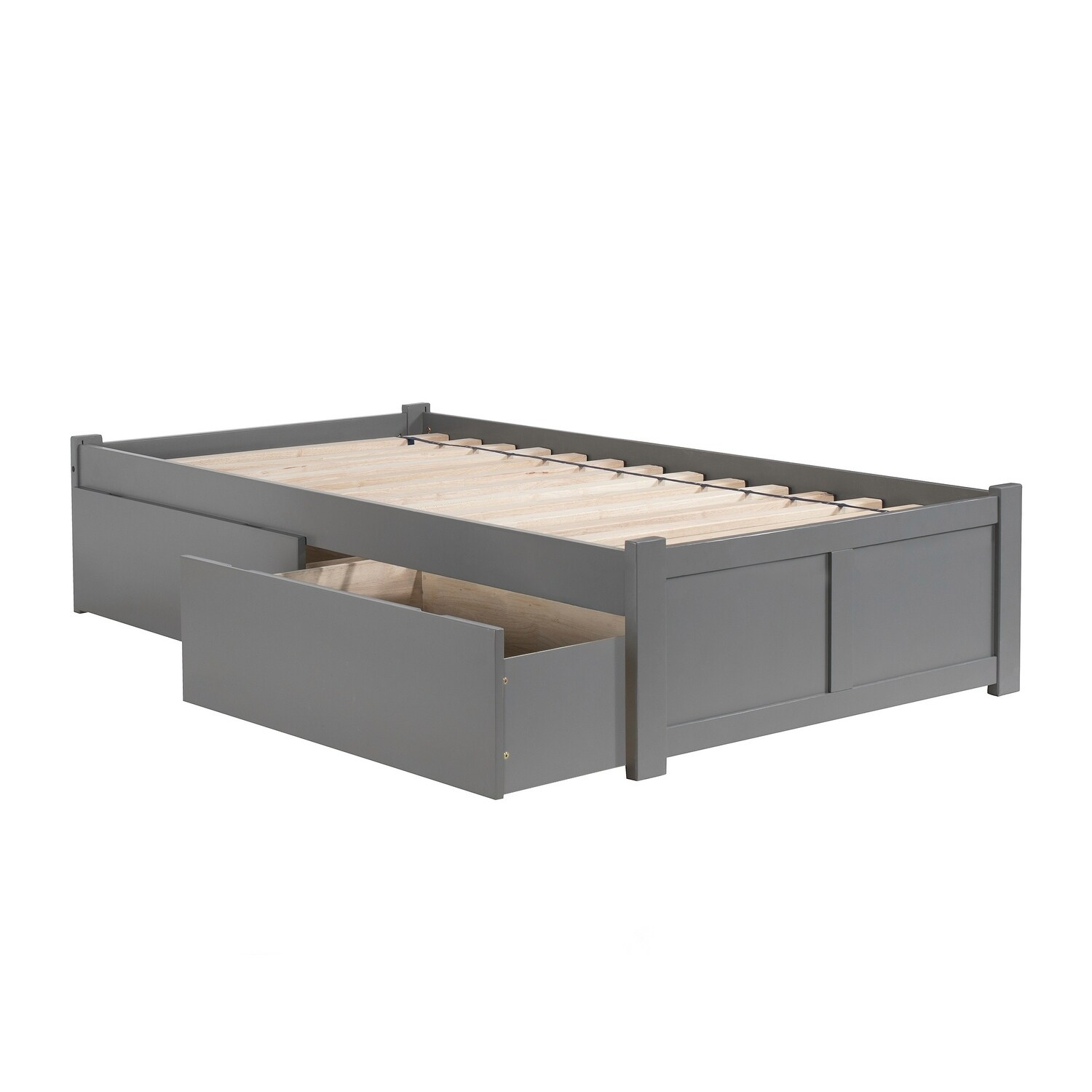 Concord Twin Platform Bed With Flat Panel Foot Board And 2 Urban Drawers In Atlantic Grey