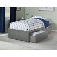 Concord Twin Platform Bed with Flat Panel Foot Board and 2 Urban Bed Drawers in Atlantic Grey