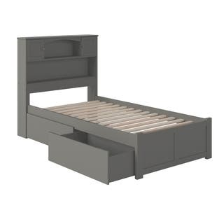 Atlantic Furniture Newport Grey Wood Twin Xl Platform Bed With Flat Panel Footboard And 2