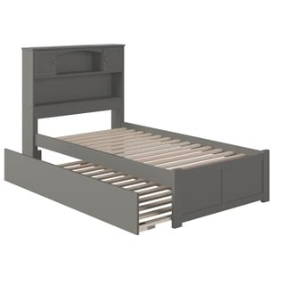 Newport Twin Platform Bed with Flat Panel Foot Board and Twin Size Urban Trundle Bed in Atlantic Grey
