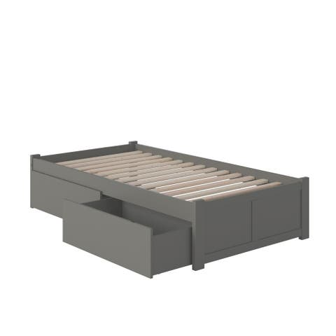 Concord Twin XL Platform Bed with Flat Panel Foot Board and 2 Urban Bed Drawers in Atlantic Grey