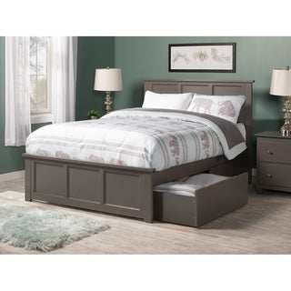 white platform bed with drawers. Madison Full Platform Bed With Matching Foot Board 2 Urban Drawers In Atlantic Grey White R