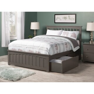Mission Full Platform Bed with Matching Foot Board with 2 Urban Bed Drawers in Atlantic Grey