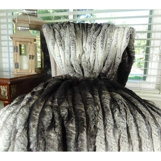 Plutus Ombre Chocolate Brown and Ivory Faux Fur Handmade Blanket