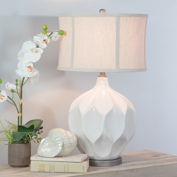 Jasmine Large White Ceramic Table Lamp