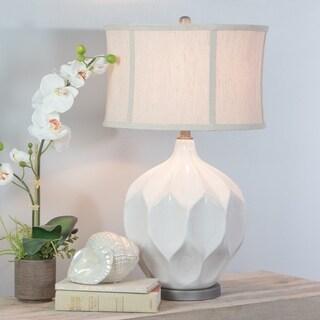 Jasmine White Ceramic Large Table Lamp