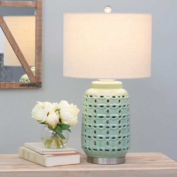 Nanette Green/Brushed Nickel Ceramic/Metal Table Lamp
