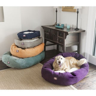 Majestic Pet Villa Collection Faux Velvet/Sherpa Bagel Pet Bed X-Large Size in Azure (As Is Item)