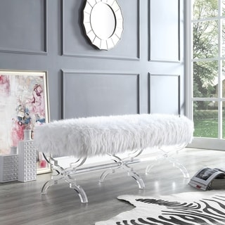 Link to Vicky Modern Faux Fur Bench with Acrylic X-Legs Similar Items in Living Room Furniture