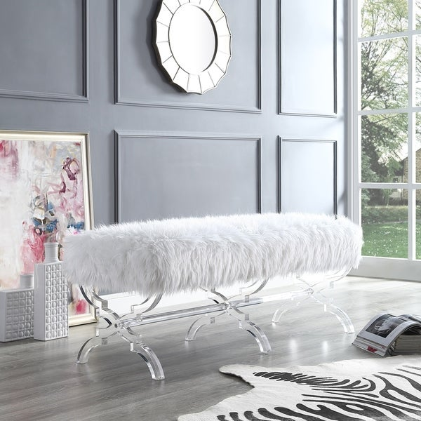 Shop Vicky Modern Faux Fur Bench With Acrylic X Legs On