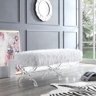 Vicky Modern Faux Fur Bench with Acrylic X-Legs (2 options available)