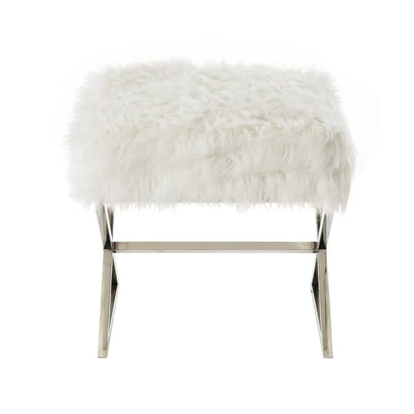 Tremendous Shop Della Faux Fur Ottoman With Gold Or Chrome X Legs On Andrewgaddart Wooden Chair Designs For Living Room Andrewgaddartcom