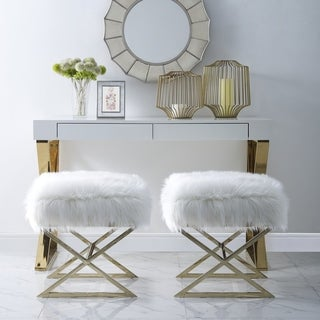 Link to Della Faux Fur Ottoman with Steel X-cross Legs Similar Items in Living Room Furniture