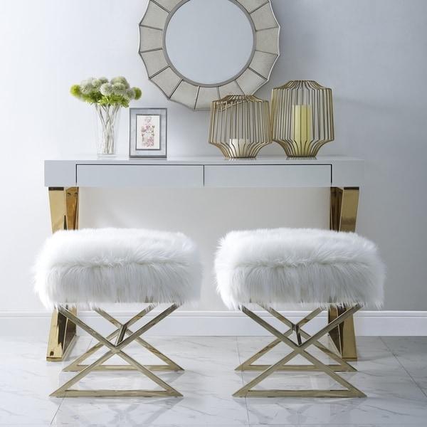 Shop Della Faux Fur Ottoman With Gold Or Chrome X Legs