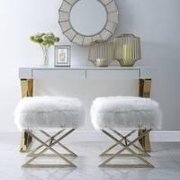 Della Faux Fur Ottoman with Gold or Chrome X-Legs