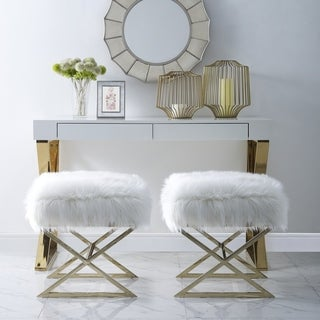 Della Faux Fur Ottoman with Gold or Chrome X-Legs