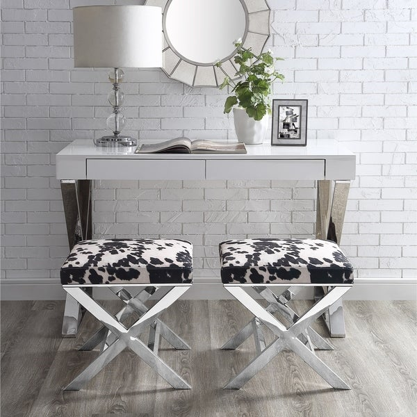 Shop Arianna Velvet Faux Cowhide Entryway Ottoman With Chrome X Legs Free Shipping Today