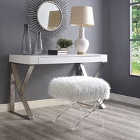 Inspired Home Vicky Faux Fur Ottoman Acrylic X-Leg