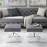 Inspired Home Della Velvet X-Leg Gold/Chrome Base Ottoman