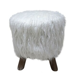WHITE FAUX FUR STOOL WITH WHITE WASHED LEGS