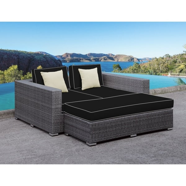 SOLIS Lusso Outdoor Daybed - Grey Rattan, Black Cushions, White Toss ...