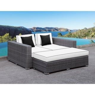 SOLIS Lusso Outdoor Daybed - Grey Rattan, White Cushions, Black Toss