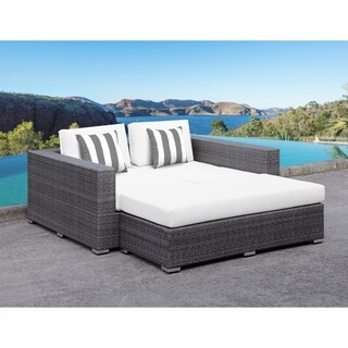 SOLIS Lusso Outdoor Daybed - White Cushions, Grey/White Stripe Toss