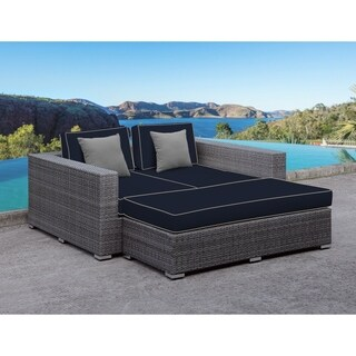 SOLIS Lusso Outdoor Daybed - Grey Rattan, Navy Cushions, Grey Toss