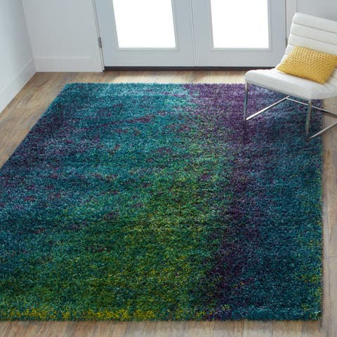 Porch & Den Marlena Blue and Green Shag Area Rug