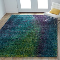 Porch & Den Marlena Blue and Green Shag Area Rug - 5'2 x 7'7