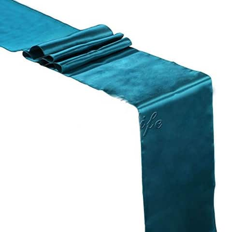 Pack Of 10 Dark Teal Wedding 12 x 108 Satin Table Runner For Wedding Banquet