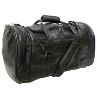 Amerileather Black Leather 20-inch Carry On U-shaped Duffel