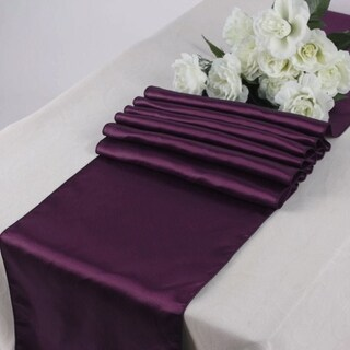 Pack Of 10 Eggplant Wedding 12 x 108 Satin Table Runner For Wedding Banquet