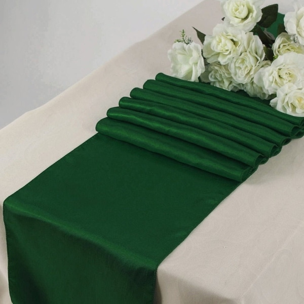 Pack Of 10 Hunter Green Wedding 12 X 108 Satin Table Runner For Banquet