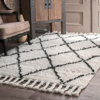 Oliver & James Zoe Hand-knotted Wool Shag Area Rug (6' x 9') - 6' x 9'
