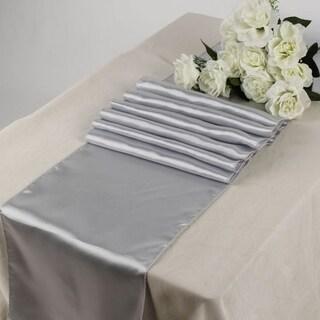 Pack Of 10 Light Gray Wedding 12 x 108 Satin Table Runner For Wedding Banquet