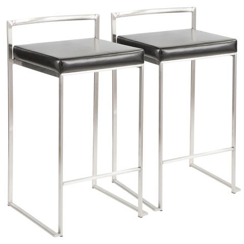 Silver Orchid Forrest Stackable Counter Stool (Set of 2) - N/A