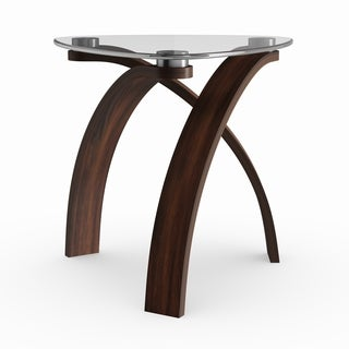 Strick & Bolton Ascott Modern Glass-top Arch Legged End Table