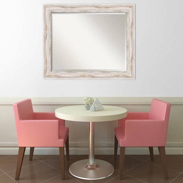 The Gray Barn Autumn Avenue Large White Wash Wall Mirror, 33 x 27 - 27.12 x 33.12 x 1.971 inches deep