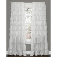 The Gray Barn Kookaburra Ruffle White Curtain Panel