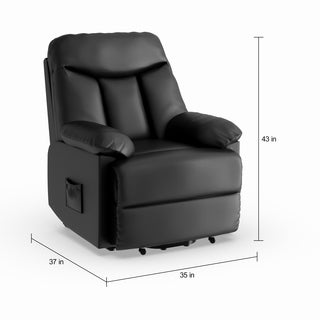 Shop Bennett Black Leather Reclining Chair Free Shipping