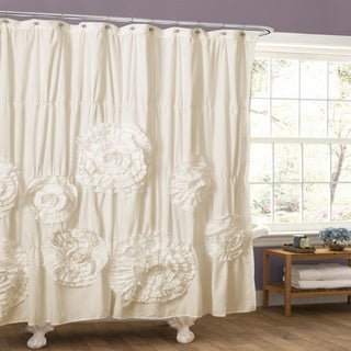Silver Orchid Bara Ruffle Trim Shower Curtain