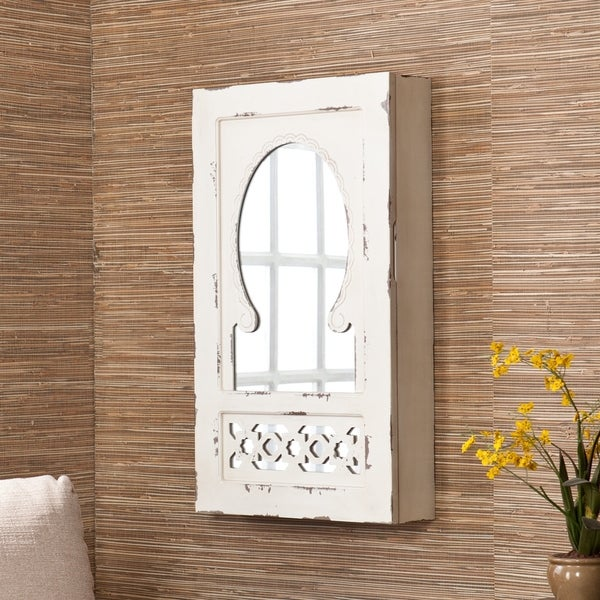 The Gray Barn Hulce Shabby Chic Mirrored Wall Mount Jewelry Armoire - Brass/Antiqe white