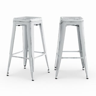 Maison Rouge Seamus Vintage 30-inch Antique Finish Modern-style Sheet Metal Cafe and Bistro Bar Stools (Set of 2)