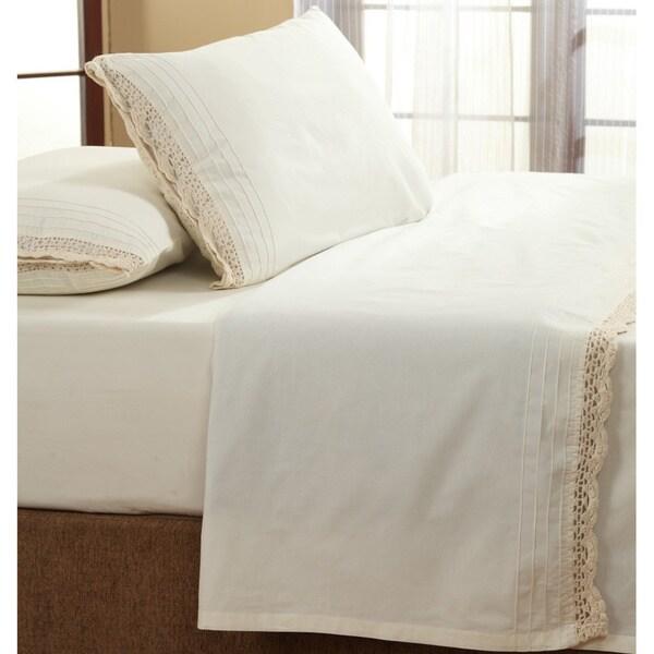 The Gray Barn Rocky River Ruffled Ivory Crochet All Cotton Sheet Set
