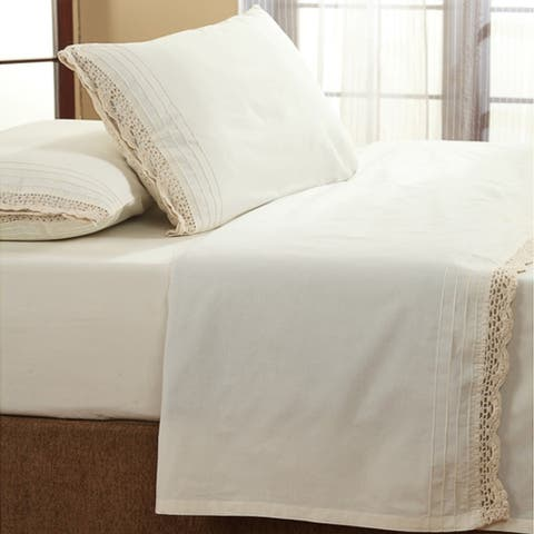 The Gray Barn Rocky River Ruffled Ivory Crochet All Cotton Sheet Set