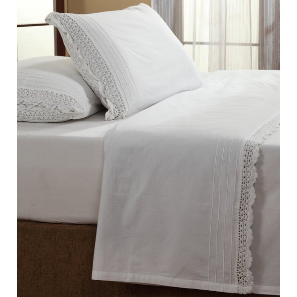 The Gray Barn Lawrence White Ruffled Crochet All Cotton Sheet Set