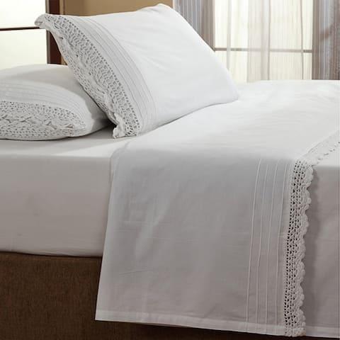 The Gray Barn Lawrence White Ruffled Crochet All Cotton Sheet Set
